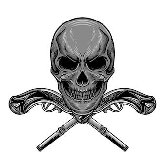 Schädel-gewehr-vektor