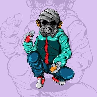 Schädel-graffiti-charakter mit sprayfarbe