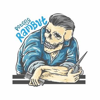 Schädel haarschnitt barbershop logo vorlage
