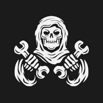 Schädel hält den schraubenschlüssel skelett-mechaniker vintage-logo-vektor-illustration
