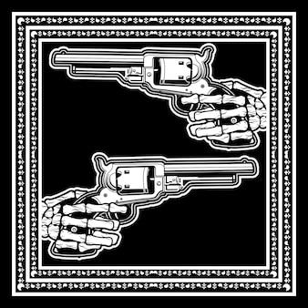 Schädel hand halten uzi gun