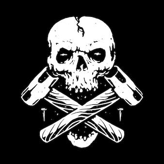 Schädel-harte arbeitslinie grafische illustration vector art t-shirt design
