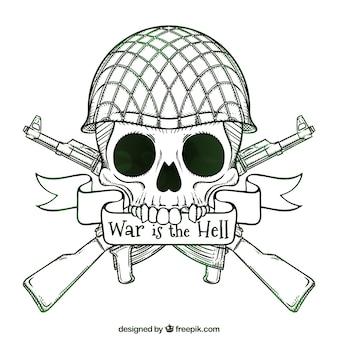 Schädel hintergrund mit handgezeichneten soldat helm