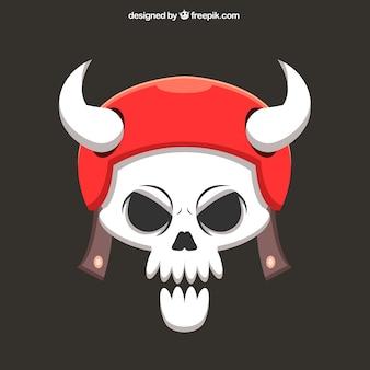 Schädel hintergrund mit roten helm und hörner