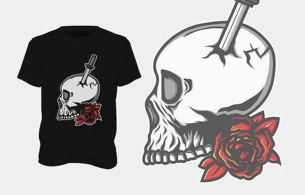 Schädel illustration t-shirt design Premium Vektoren
