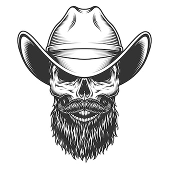 Schädel im cowboyhut