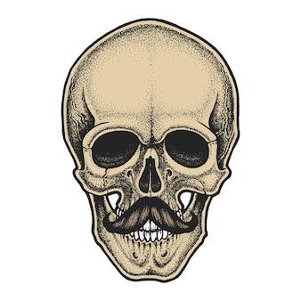 Schädel im dotwork-stil mit schnurrbart