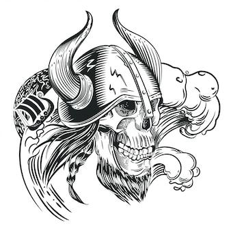 Schädel im helm des wikinger im stil der gravur. tätowierungsskizze.