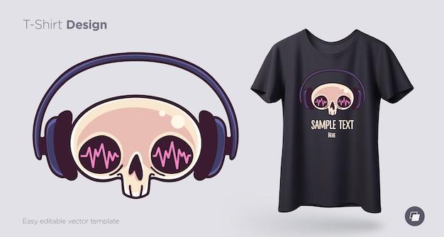 Schädel im kopfhörer-t-shirt-design. drucken sie für kleidung, poster oder souvenirs. vektor-illustration