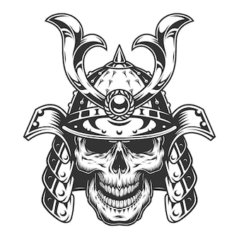Schädel im samurai-helm