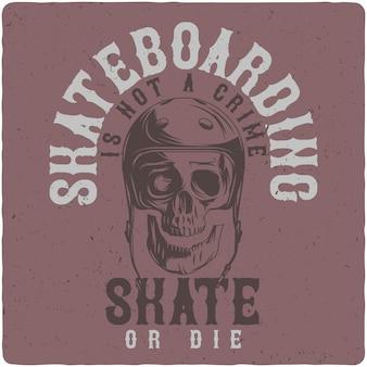 Schädel im skateboardhelm