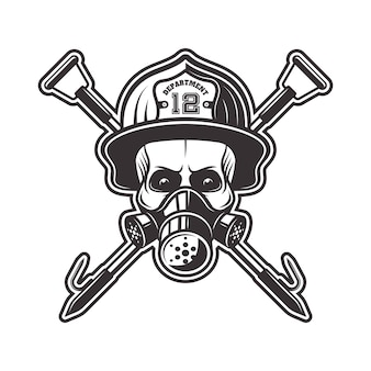 Schädel in atemschutzmaske und feuerwehrhelm mit zwei gekreuzten hakenillustration in schwarzweiß auf weißem hintergrund