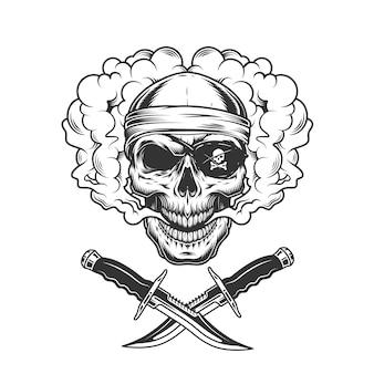 Schädel in bandana und piraten-augenklappe