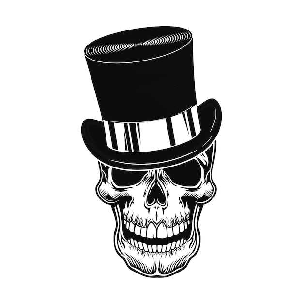Schädel in der zylinderhutvektorillustration. kopf des gruseligen charakters im gentleman-zylinderhut