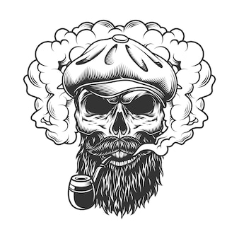 Schädel in rauchwolke