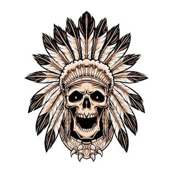 Schädel-indianer tragen kopfschmuck lokalisiert auf weiß