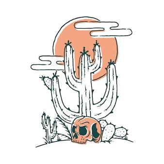 Schädel-kaktus-wüsten-illustration