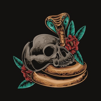 Schädel-kobra-blumen-bunte illustration