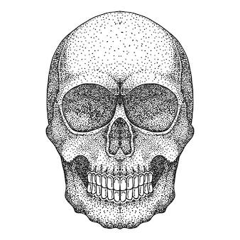 Schädel kopf dotwork vektor-illustration