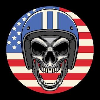 Schädel-kopf mit blauem vintage-helm mit kreis-amerikanischer flaggen-vektor-illustration