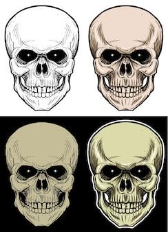 Schädel-kopf-zeichnungsillustration mit 4 änderungsfarbe