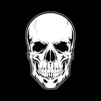 Schädel-kopfillustrations-weiße art auf dunklem hintergrund