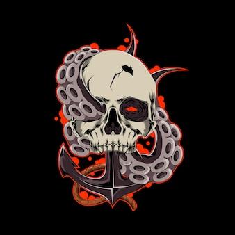Schädel-krake-vektor-vorlage illustration von schädel-piraten mit tintenfisch und anker