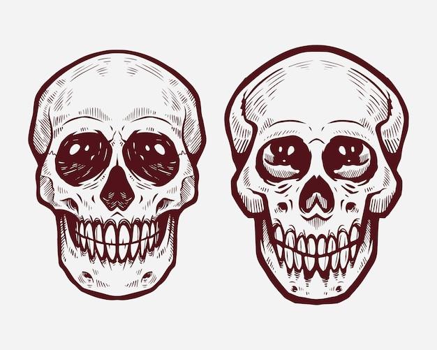 Schädel kritzelt maskottchen
