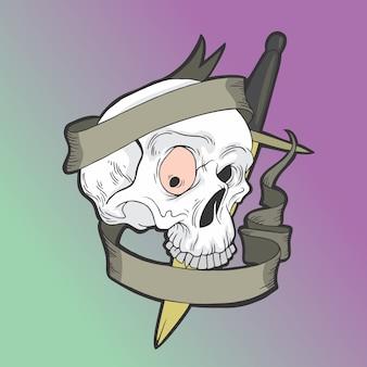 Schädel-logo mit einem messer