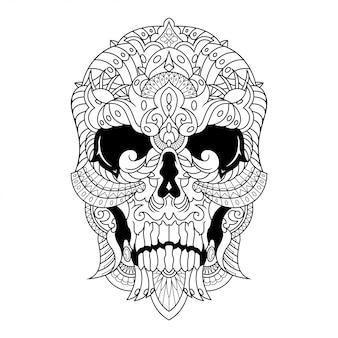 Schädel-mandala-zentangle-illustration im linearen stil