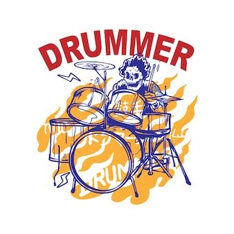 Schädel-mann, der trommel-vektor-illustration spielt