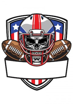 Schädel mit american football helm