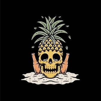 Schädel mit ananas und bier auf strand-premium-vektorschablone