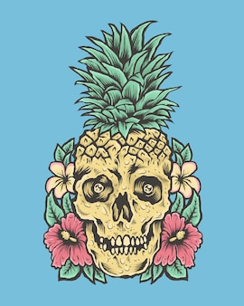 Schädel mit ananaskopf und blumen. tropische vibes illustration