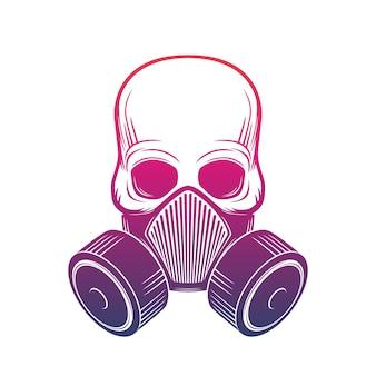 Schädel mit atemschutzmaske, gasmaske über weiß, vektorillustration