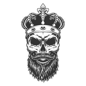 Schädel mit bart in der krone