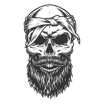 Schädel mit bart und schnurrbart