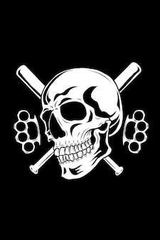 Schädel mit baseballschläger und knöchelvektorillustration
