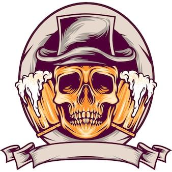 Schädel mit bier-maskottchen-illustration