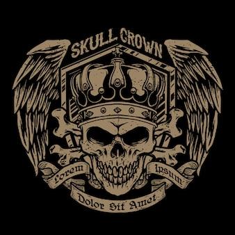 Schädel mit einer krone und abzeichenflügelillustration