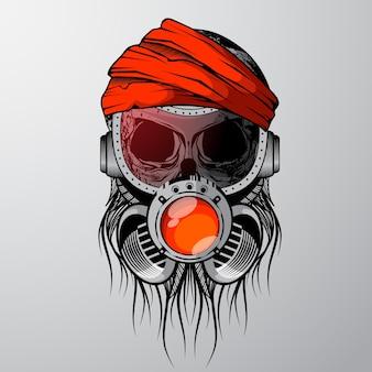 Schädel mit gasmaske