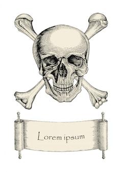 Schädel mit gekreuzten knochen, piratensymbol, logo handzeichnung vintage-stil mit band