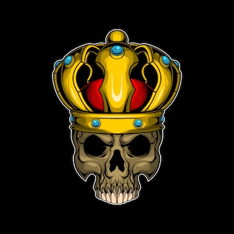 Schädel mit goldener krone