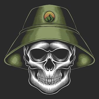 Schädel mit grüner eimerhutkarikaturillustration auf schwarzem hintergrund