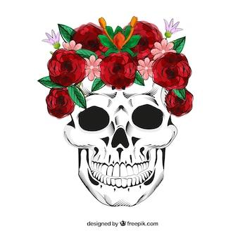 Schädel mit hand gezeichnet rosen