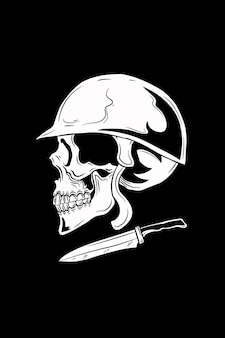 Schädel mit helm- und messervektorillustration