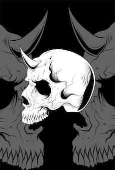 Schädel mit hornvektorillustration