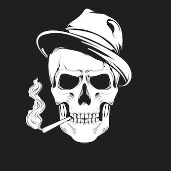 Schädel mit hut und rauchen