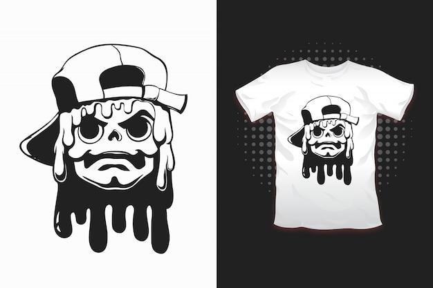 Schädel mit hutdruck für t-shirt design