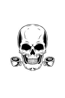 Schädel mit kaffeevektorillustration